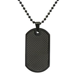 Oxford Ivy Men's Black Plated Stainless Steel and Carbon Fiber Dog Tag Necklace