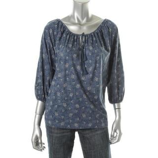 LRL Lauren Jeans Co. Womens Petites Printed Cotton Pullover Top - pm