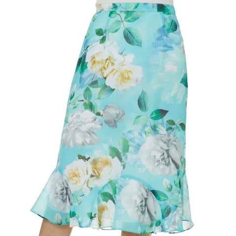Alfredo Dunner Women's Floral Tiered Skirt Green Size Large