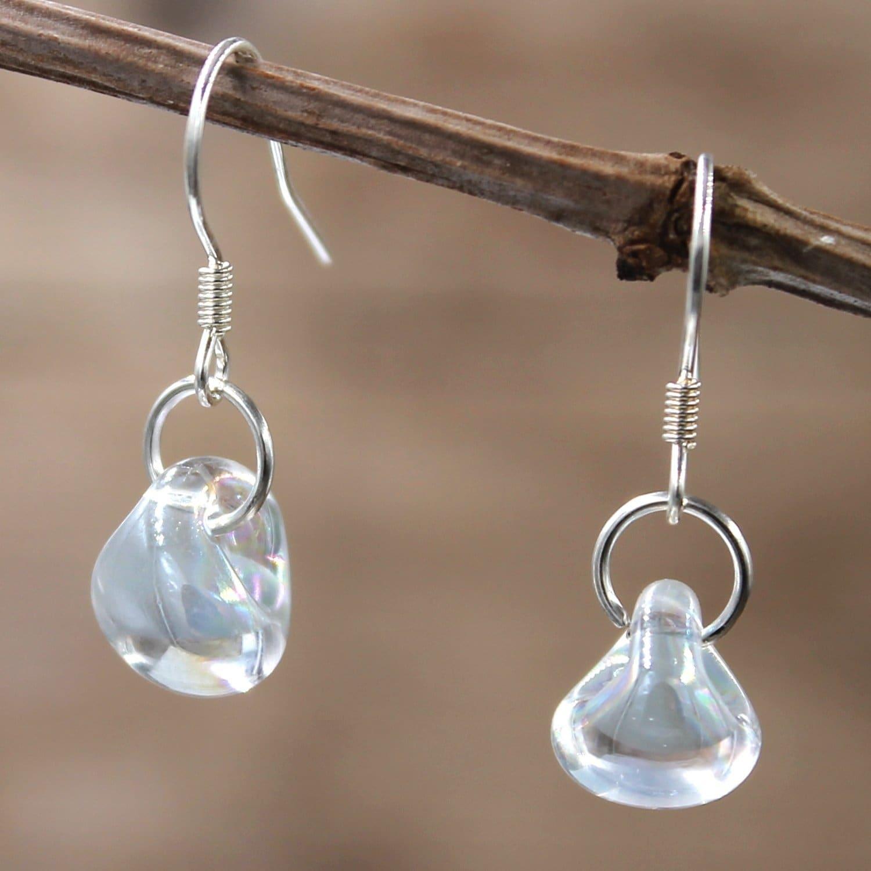 Forged Silver Water Drop Earrings