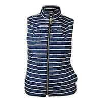 Charter Club Women's Reversible Striped Quilted Vest - intrepid blue combo - L