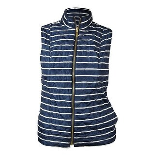 Charter Club Women's Reversible Striped Quilted Vest - intrepid blue combo