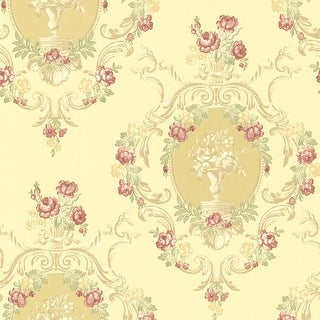 Brewster 344-68745 Maybelle Yellow Cameo Damask Wallpaper