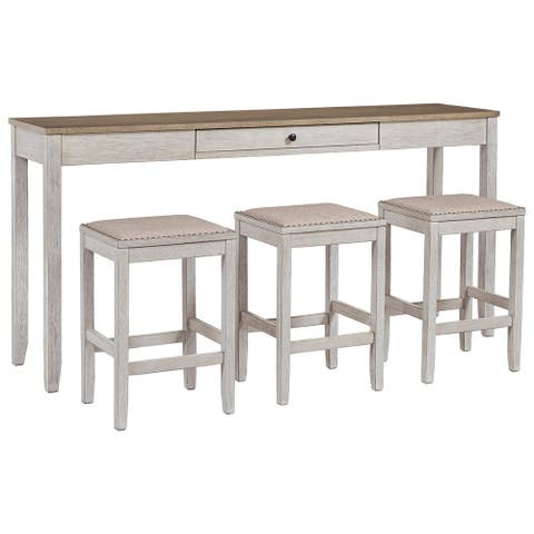 Skempton Casual Rectangular Dining Room Counter Table Set of 4, White/Light Brown