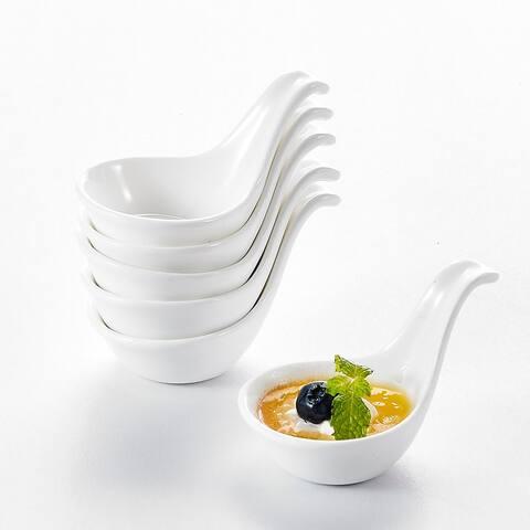 3.75'' White Porcelain Ramekins Spoon-shaped Souffle Dishes Set of 12