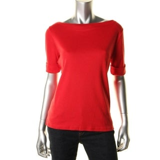 Ralph Lauren Womens Petites Casual Top Knit Short Sleeves - pl