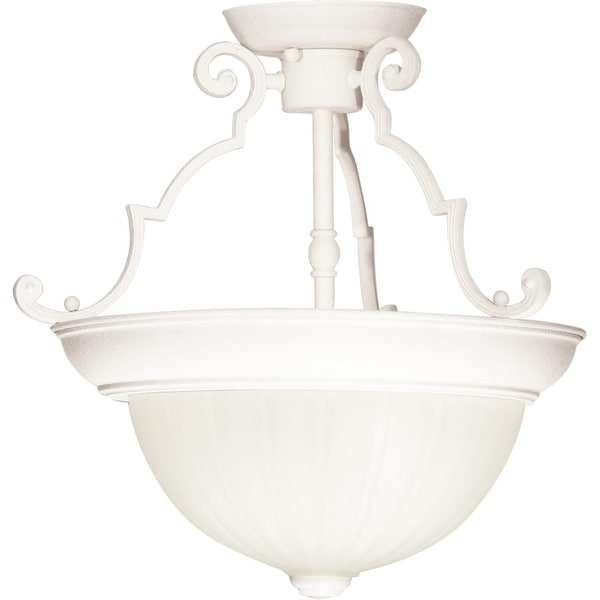 """Nuvo Lighting 76/435 2-Light 13"""" Wide Semi-Flush Bowl Ceiling Fixture - textured white - n/a"""