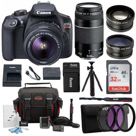 Canon EOS Rebel T6 18.0 MP DSLR Camera w/ 18-55mm & 75-300mm Lenses & Gadget Bag with 32GB SD Card Bundle