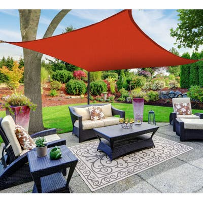 Boen Square Sun Shade Sail Canopy Awning UV Block for Outdoor Patio Garden and Backyard - Red - 12'x12'