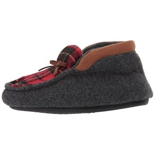 Kids Dearfoams Boys PLAID BOOTIE Pull On Bootie Slippers
