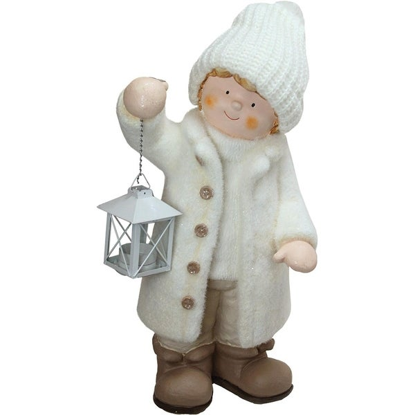 "17.25"" Winter Boy in White Holding a Tealight Lantern Christmas Table Top Figure"