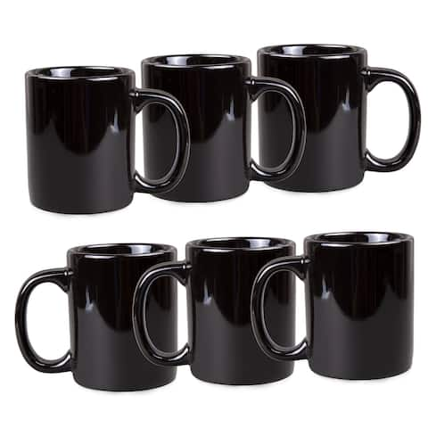 Creative Home Set of 6 Pieces Ceramic Stoneware Coffee Mug Tea Cup for Breakfast Coffee, Hot Tea, Morning Juice, Milk, Black
