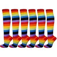 Youth/Kids Rainbow Striped non-skid bottom Knee High Socks(6 Pairs )