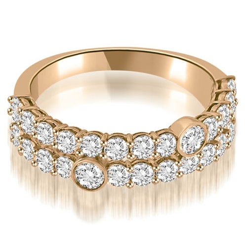 1.40 cttw. 14K Rose Gold Two-Row Round Cut Diamond Wedding Ring