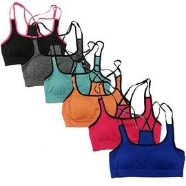 Women's 6 Pack Multi Straps Solid Color Athletic Sports Yoga Bras