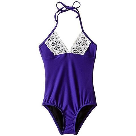 Ella Moss Girl Girl's Stella One-Piece (Big Kids) Purple Swimsuit SZ: 14