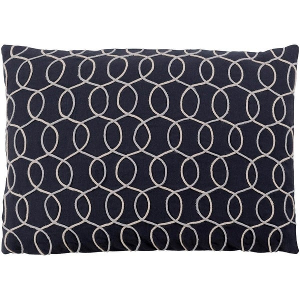 "19"" Black and Gray Geometric Pattern Rectangular Throw Pillow - Down Filler"