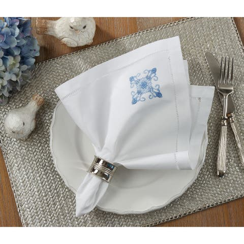 Embroidered Blue Medallion Hemstitched Cotton Napkin (Set of 6)