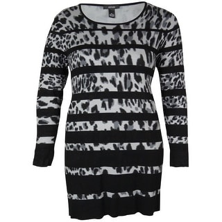 Alfani Women's Animal Print Striped Sweater Dress