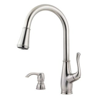 Pfister F-529-7SW Sedgwick Pullout Spray Professional Kitchen Faucet with Soap Dispenser