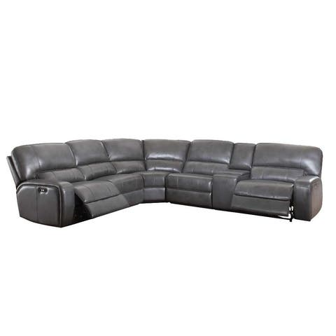ACME Saul Power Motion Gray Leather Sectional Sofa