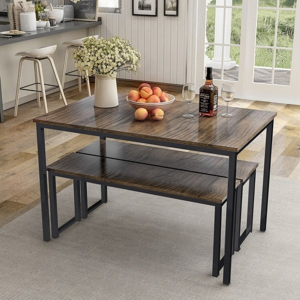 3 Piece Dining Table Set Kitchen Table With Two Benches Overstock 28762944