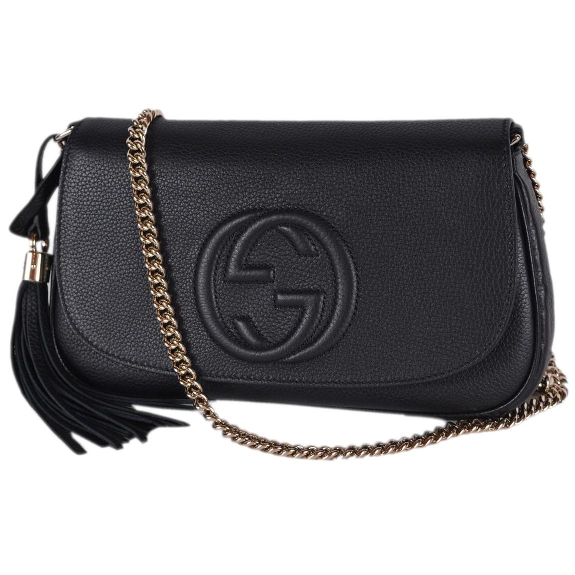 Gucci 536224 Black Leather SOHO Tassel Crossbody Purse Handbag