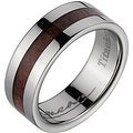 Titanium Wedding Band With Koa Wood Inlay & Wide Edges 8 mm - Thumbnail 0