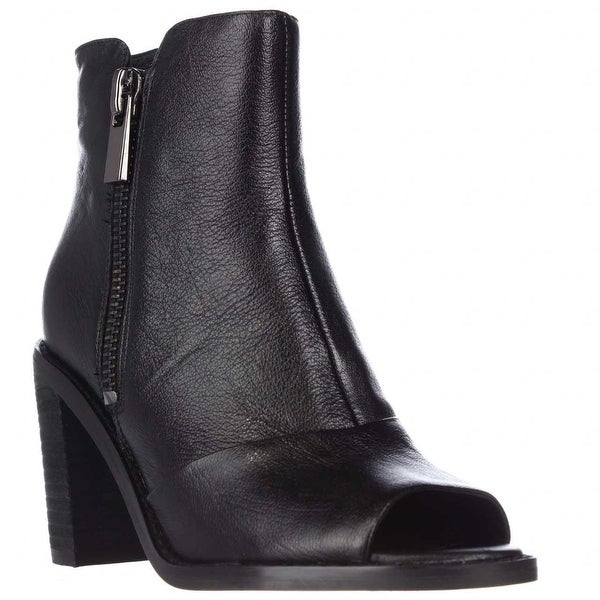 Kenneth Cole Lacey Peep Toe Double Zip Ankle Booties, Black - 5.5 us