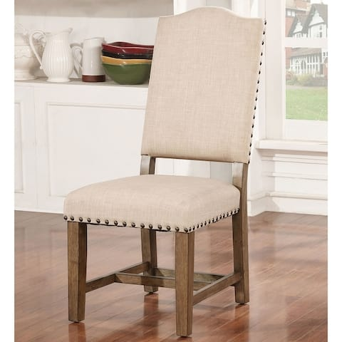 Furniture of America Dice Rustic Oak Solid Wood Side Chairs (Set of 2)