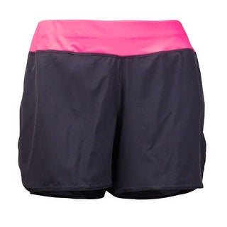 Ideology Women's Colorblocked Performance Shorts - Deep Charcoal
