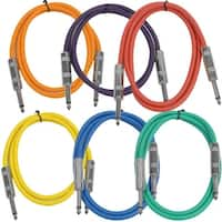 """SEISMIC AUDIO  6 PACK Colored 1/4"""" TS 3' Patch Cables - Guitar - Instrument"""