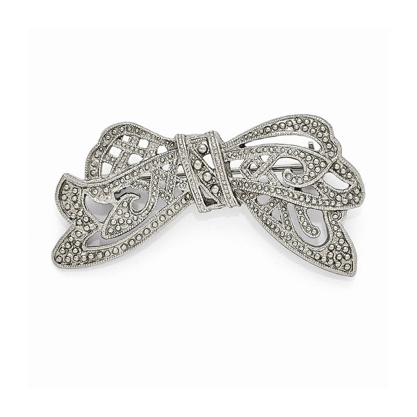 Silvertone Textured Bow Pin