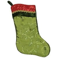"20"" Red and Green Leaf Christmas Stocking with Wavy Sequined Cuff"