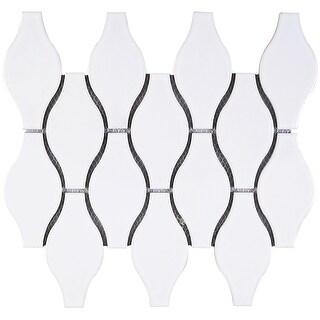 "TileGen. Bowling 4"" x 5"" Porcelain Mosaic Tile in White Floor and Wall Tile (10 sheets/9.4sqft.)"