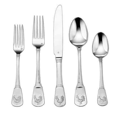 Cuisinart French Rooster Collection Stainless Steel Flatware Set, 20-Piece Set