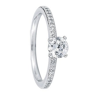 ELLE Petite Pavé Four Prong Solitaire Palladium Engagement Ring - MADE WITH SWAROVSKI® ELEMENTS - White