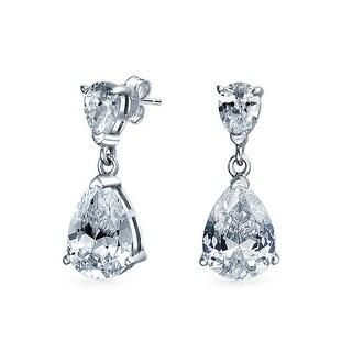 Bling Jewelry .925 Silver Double Teardrop CZ Dangle Earrings