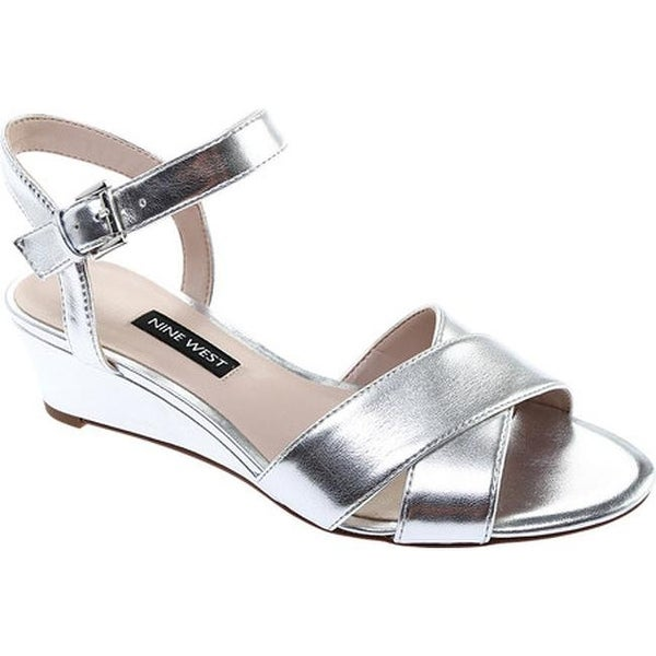 5f2d04859b1 Shop Nine West Women s Laglade Wedge Sandal Silver Synthetic - Free ...