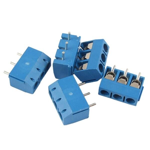 Unique Bargains 5 Pcs 3 Pins 5mm Pitch PCB Screw Terminal Block Blue AC 300V