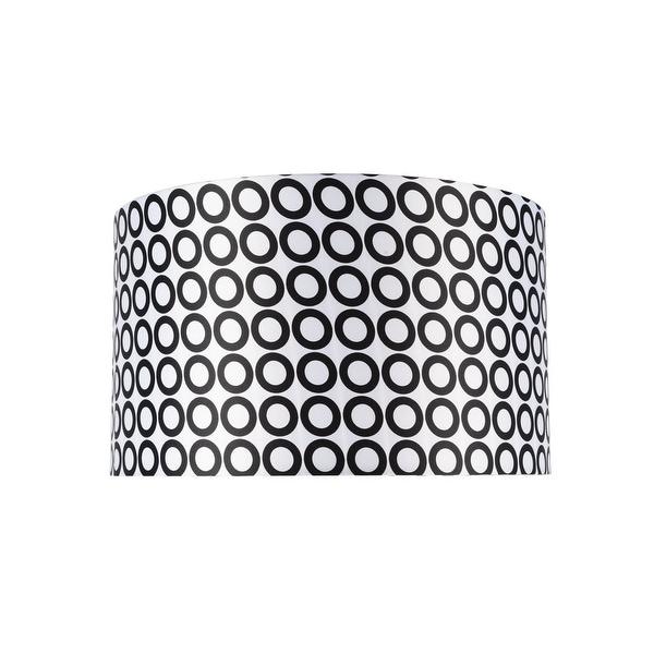 "Aspen Creative Hardback Drum (Cylinder) Shape Spider Construction Lamp Shade in Black & White Geometric Print (17"" x 17"" x 10""). Opens flyout."