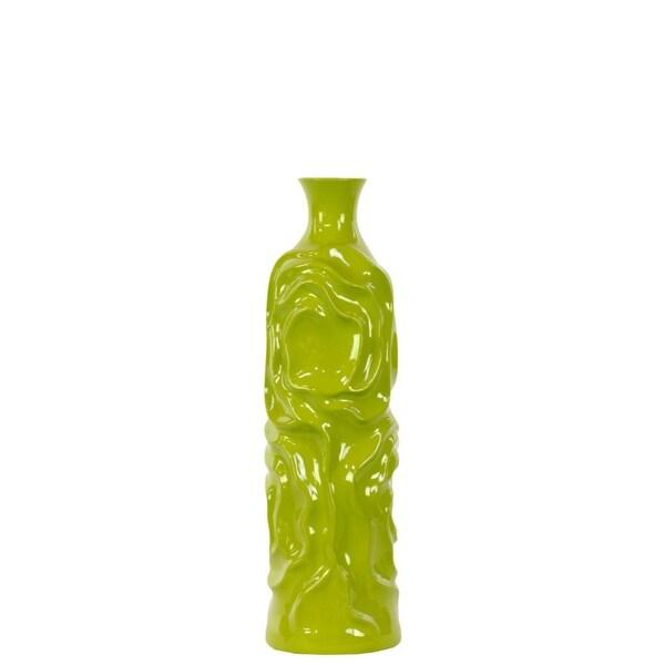 Cylindrical Shape Ceramic Vase With Wrinkled Sides, Medium, Green