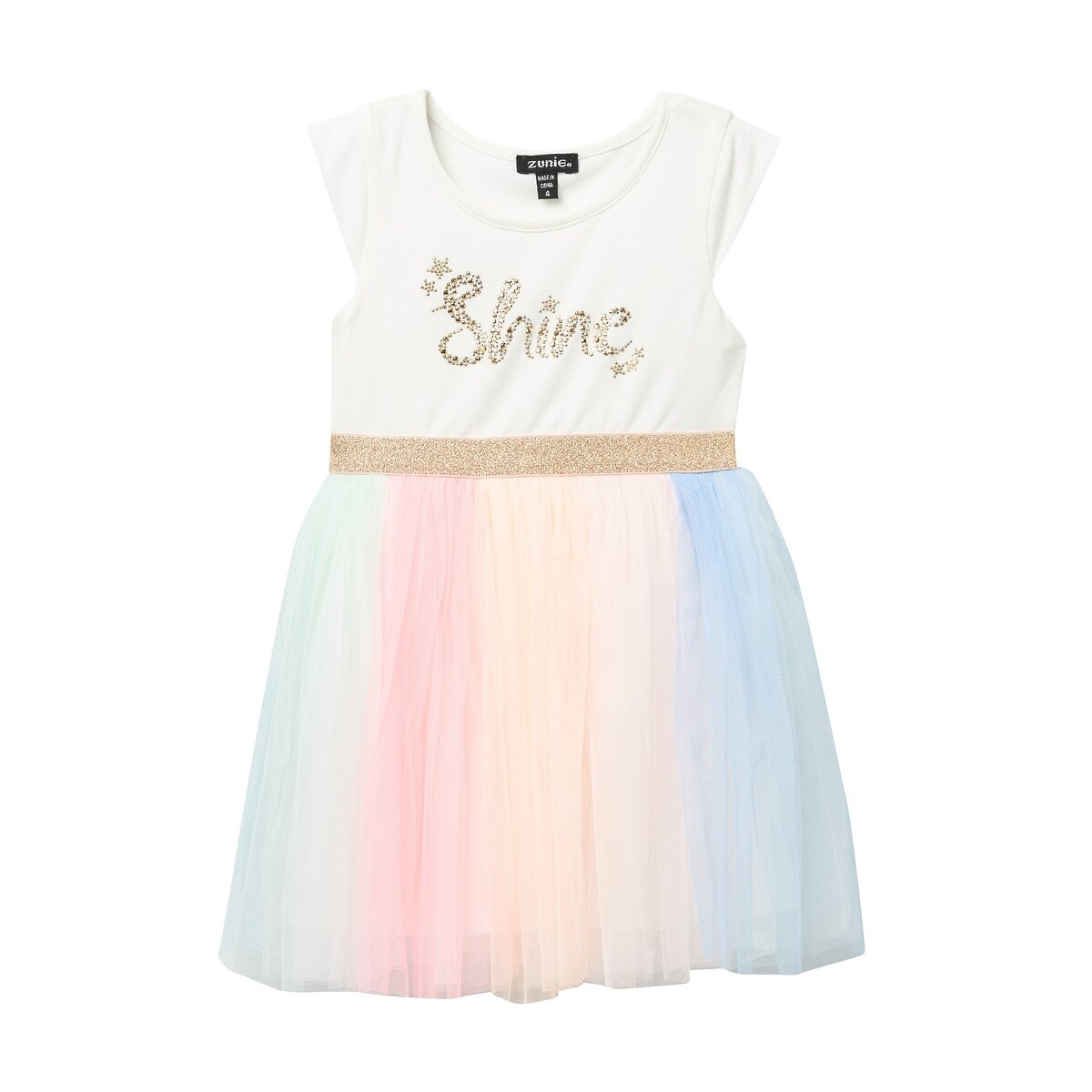 e7d2a3a6d409 Shop Zunie White Baby Girls Size 2T 'Shine' Metallic Rainbow Mesh Dress -  Free Shipping On Orders Over $45 - Overstock - 28065927