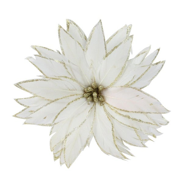"""7.5"""" Gilded White Christmas Glittered Poinsettia Feather Clip-On Christmas Tree Ornament - GOLD"""