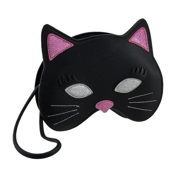 Black & Pink Glitter Kitty Cat Mask Wristlet Purse