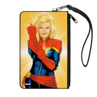 Marvel Universe Captain Marvel Issue #1 Cover Pose Pulling Glove Gold Fade Canvas Zipper Wallet