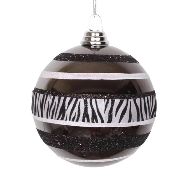 Diva Safari Zebra Print & Stripes Black and White Christmas Ball Ornament 5.5""