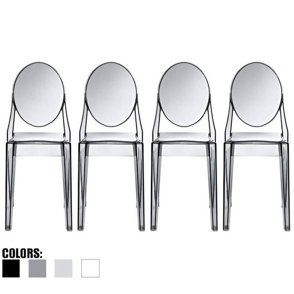 2xhome Set of 4 Designer Transparent Dining Chairs Modern Designer Stacking Accent For Kitchen Armless No Arms. Opens flyout.