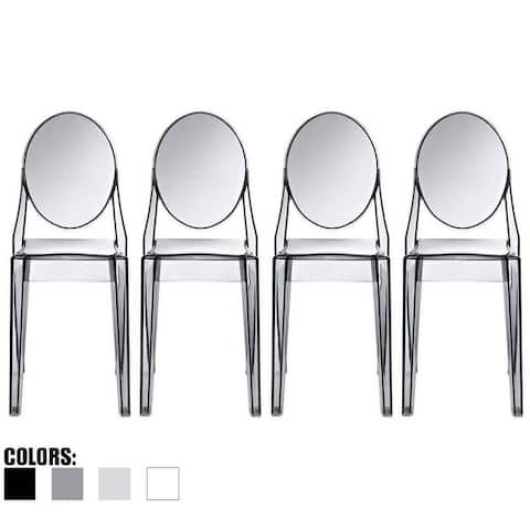 Set of 4 Designer Transparent Dining Chairs Modern Designer Stacking Accent For Kitchen Armless No Arms