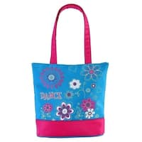 """Sassi Designs Teal Flower Power Dance Small Tote Bag 9.5"""" x 11"""" x 3"""" - One size"""